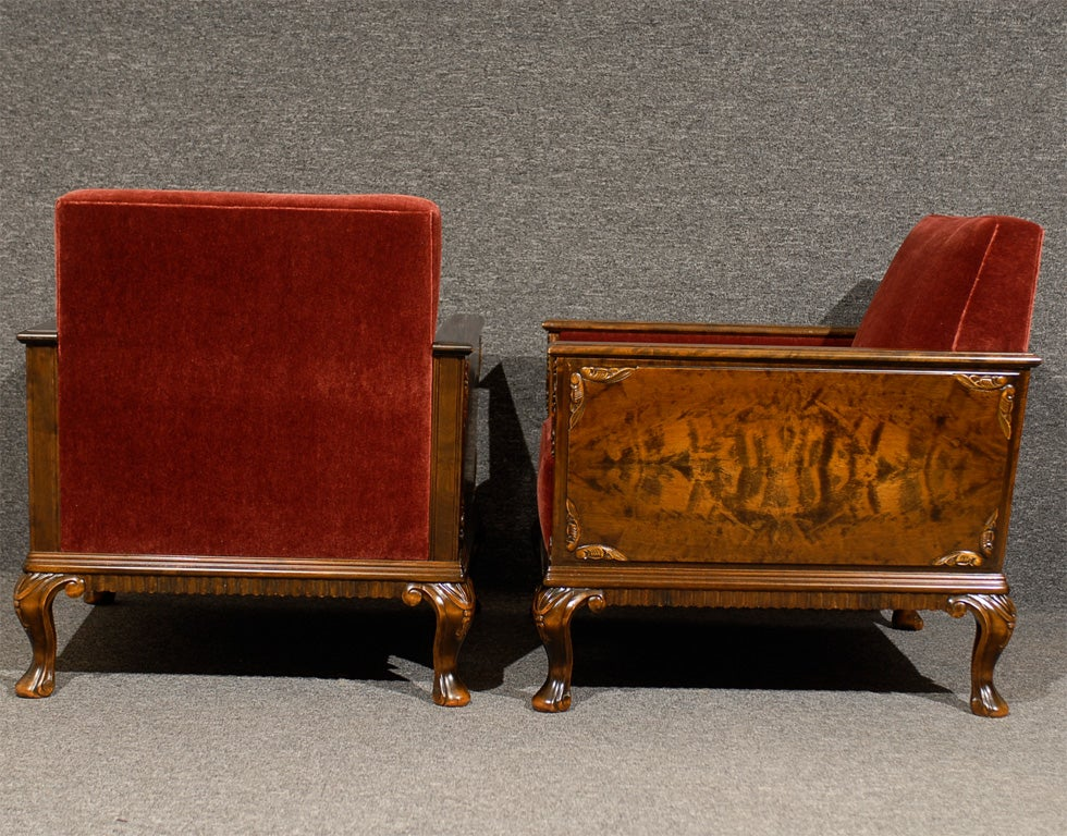 Pair of Swedish Art Deco Neoclassical Flame Birch Club Chairs 7