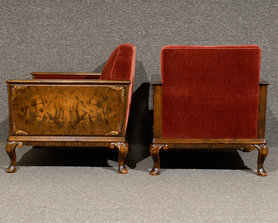 Pair of Swedish Art Deco Neoclassical Flame Birch Club Chairs 8