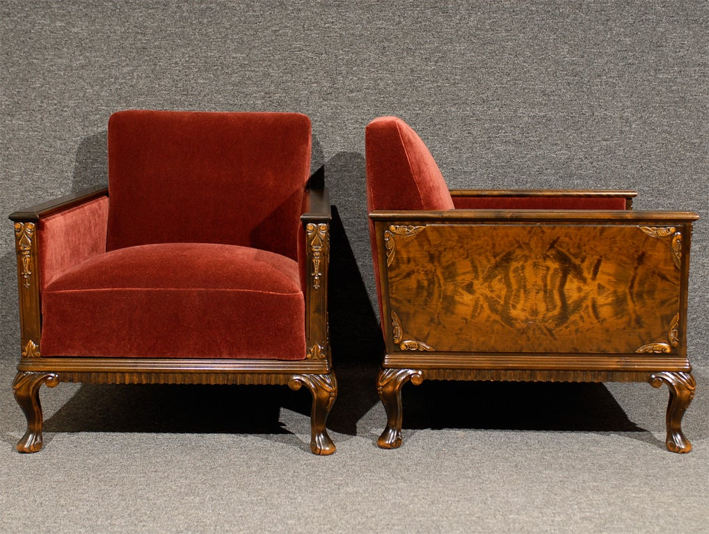 Pair of Swedish Art Deco Neoclassical Flame Birch Club Chairs 9