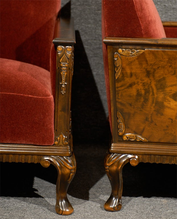 Pair of Swedish Art Deco Neoclassical Flame Birch Club Chairs 10