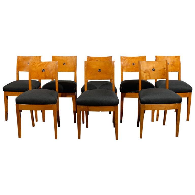 Set Of Eight Swedish Karl Johan Biedermeier Dining Chairs At 1stdibs