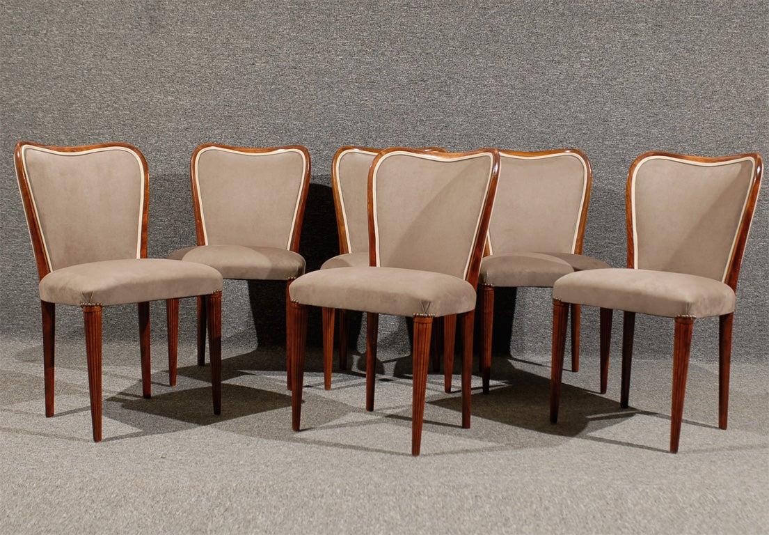 Set Of Six Newly Upholstered Swedish Art Moderne Dining