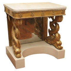 Carved Giltwood Dolphin Console Table, Original Marble Top Swedish circa 1820