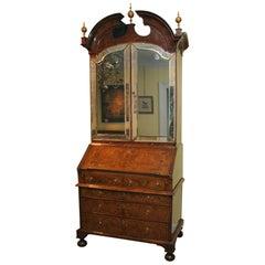 The Walton Hall Queen Anne Burl Walnut Secretary Bookcase, English, circa 1705