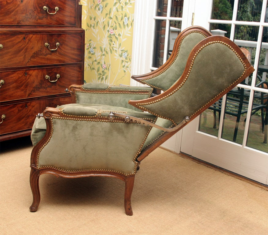 Louis XV carved walnut reclining wing chair, c.1750 For Sale 2