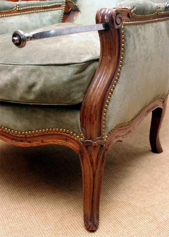 Louis XV carved walnut reclining wing chair, c.1750 For Sale 5