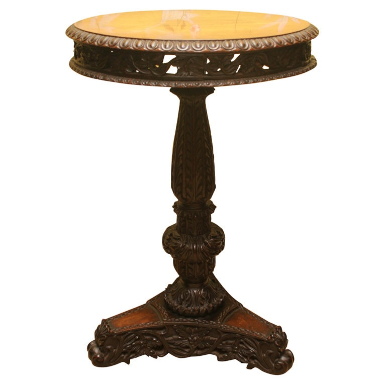 Antique Anglo-Indian Finely Carved Padouk Circular Tilt-Top Table, circa 1840