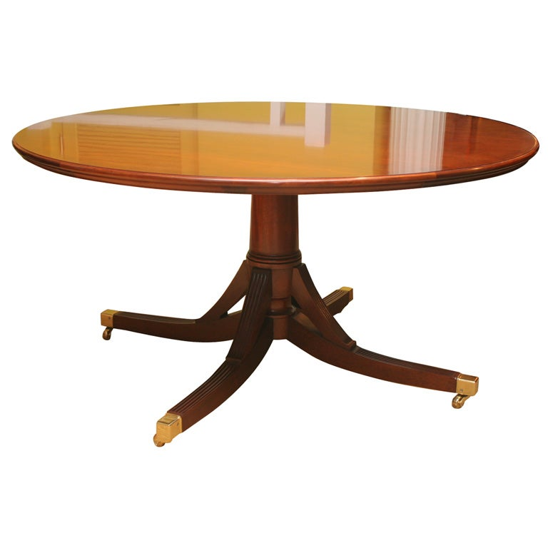 An Exceptional Hand Made Mahogany Round Dining Table With Semi