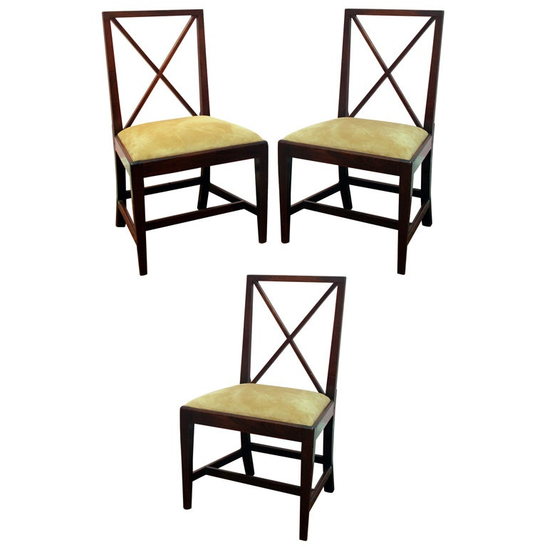 Set of Six Antique George III Mahogany Game or Dining Chairs, circa 1780