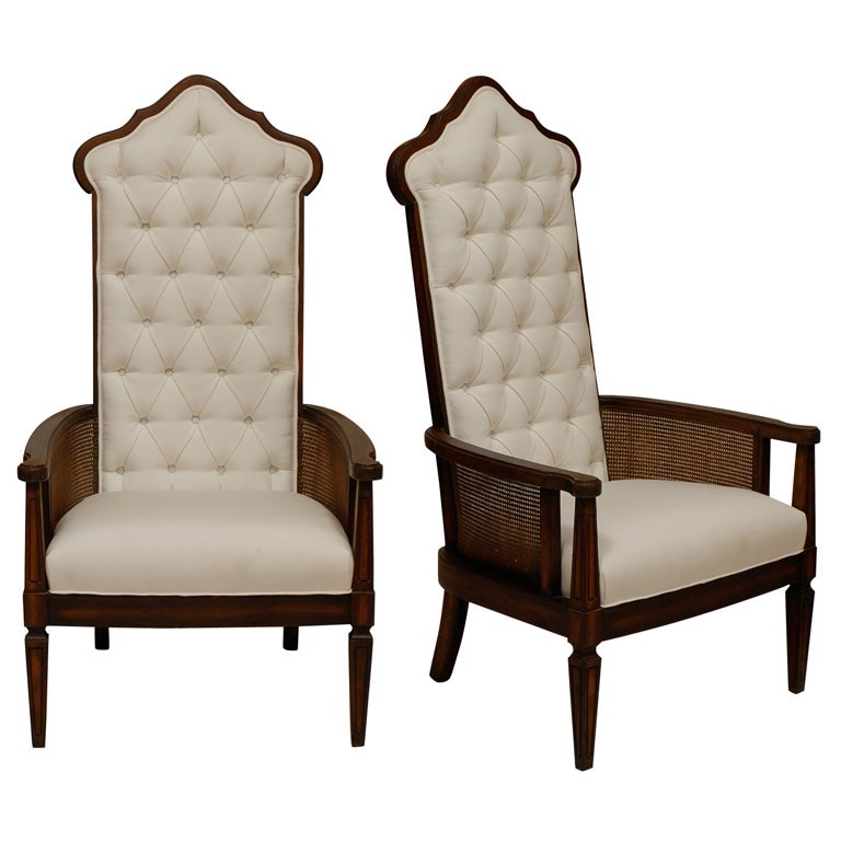 Pair Of Tufted High Back Chairs At 1stdibs