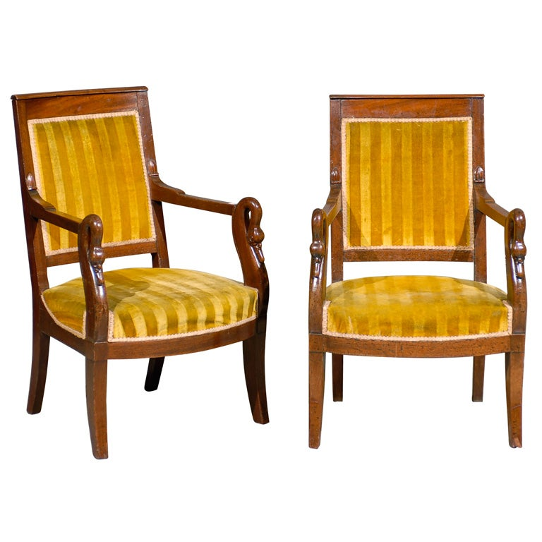 Pair French Empire Mahogany Arm Chairs at 1stdibs : xabp298714 from 1stdibs.com size 768 x 768 jpeg 67kB
