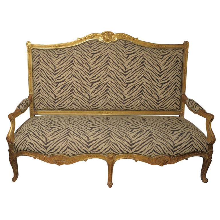 Louis xv xvi transitional style zebra giltwood canape at for Canape zebre