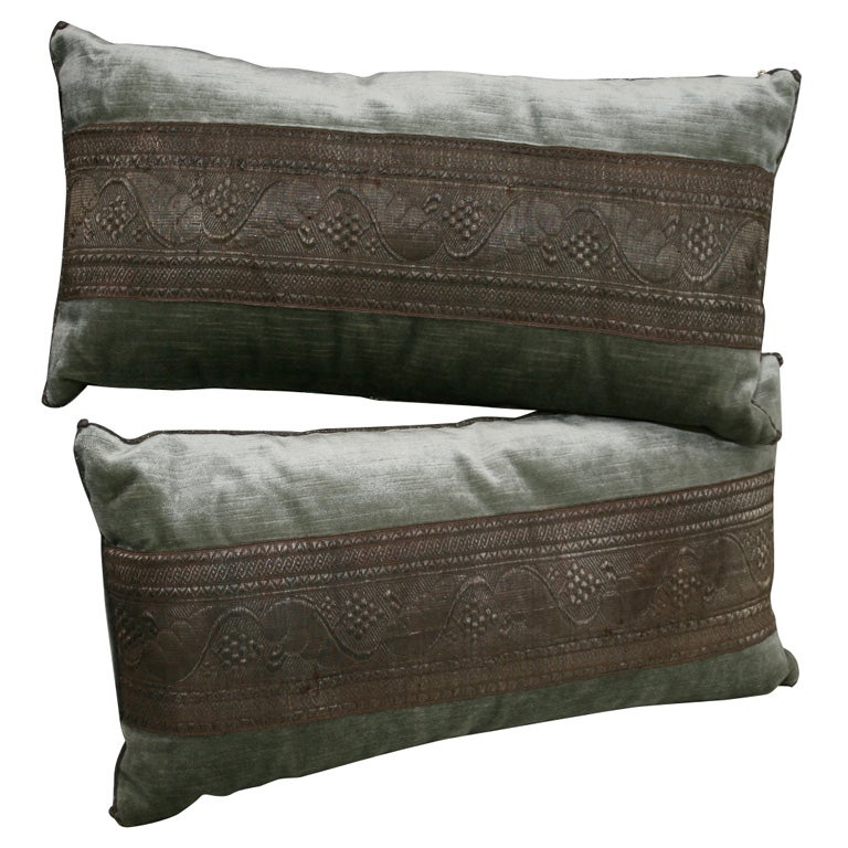 DECORATIVE PILLOWS WITH ANTIQUE TRIM at 1stdibs