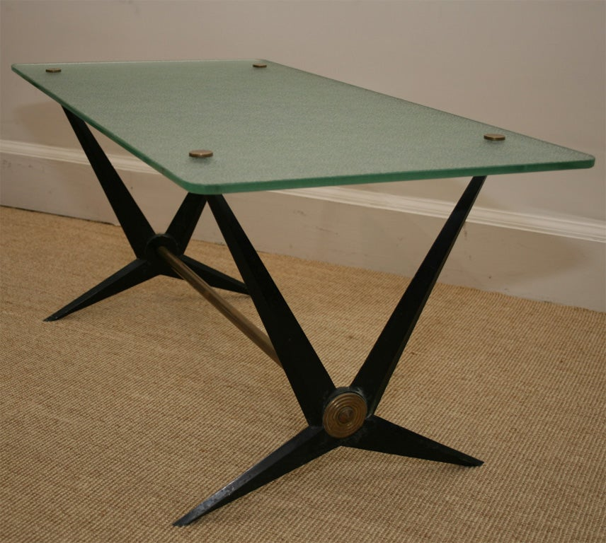 An Italian Glass And Iron Coffee Table At 1stdibs