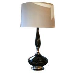 Dazzling Black Glazed Mid-Century Modernist Ceramic Lamp