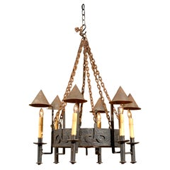 French iron chandelier with six lights and cone shades