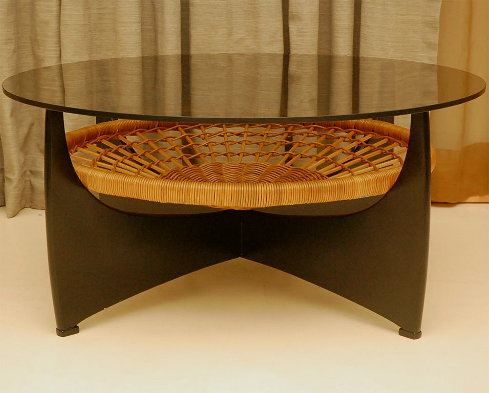 Danish Coffee Table With Magazine Holder At 1stdibs