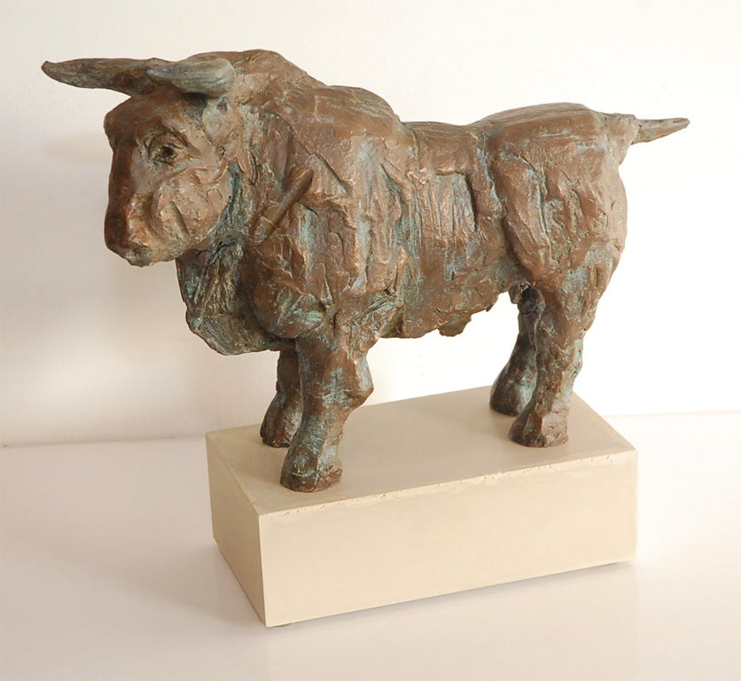 A vigorously modeled figure of a bull (somewhat reminiscent of Picasso's sculpture in the late 1940s and 1950s) by my late father -- who in addition to being an animalier, was a surgeon, and thus very good at making things by hand. From the edition
