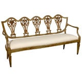 Venetian Late 18th Century Painted and Gilt Sofa with Floral and Lyre Motifs