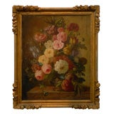 18th Century French Framed Painting of Roses with Original Gilt
