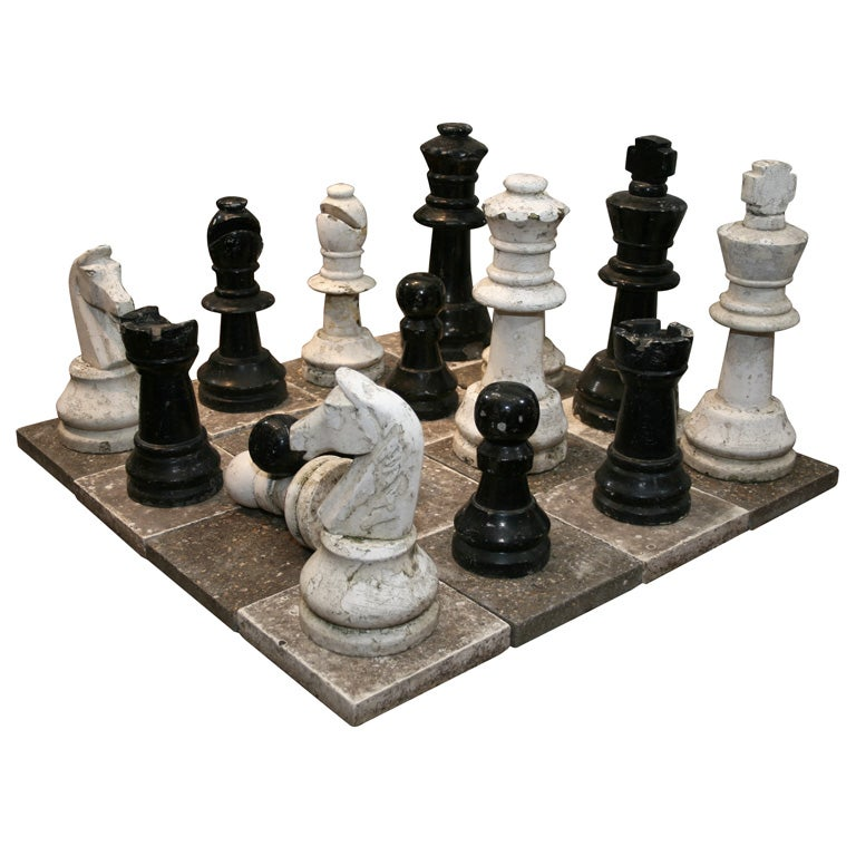 Stone and cement garden chess set at 1stdibs - Granite chess set ...