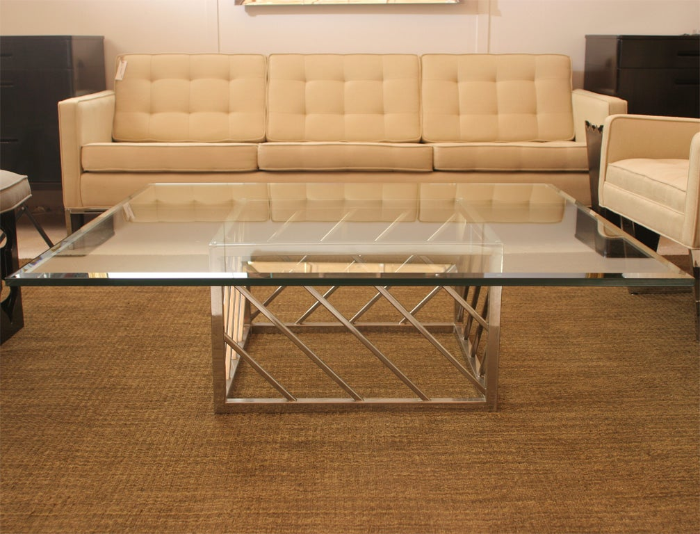 Large chrome and glass coffee table for sale at 1stdibs for Big glass coffee table
