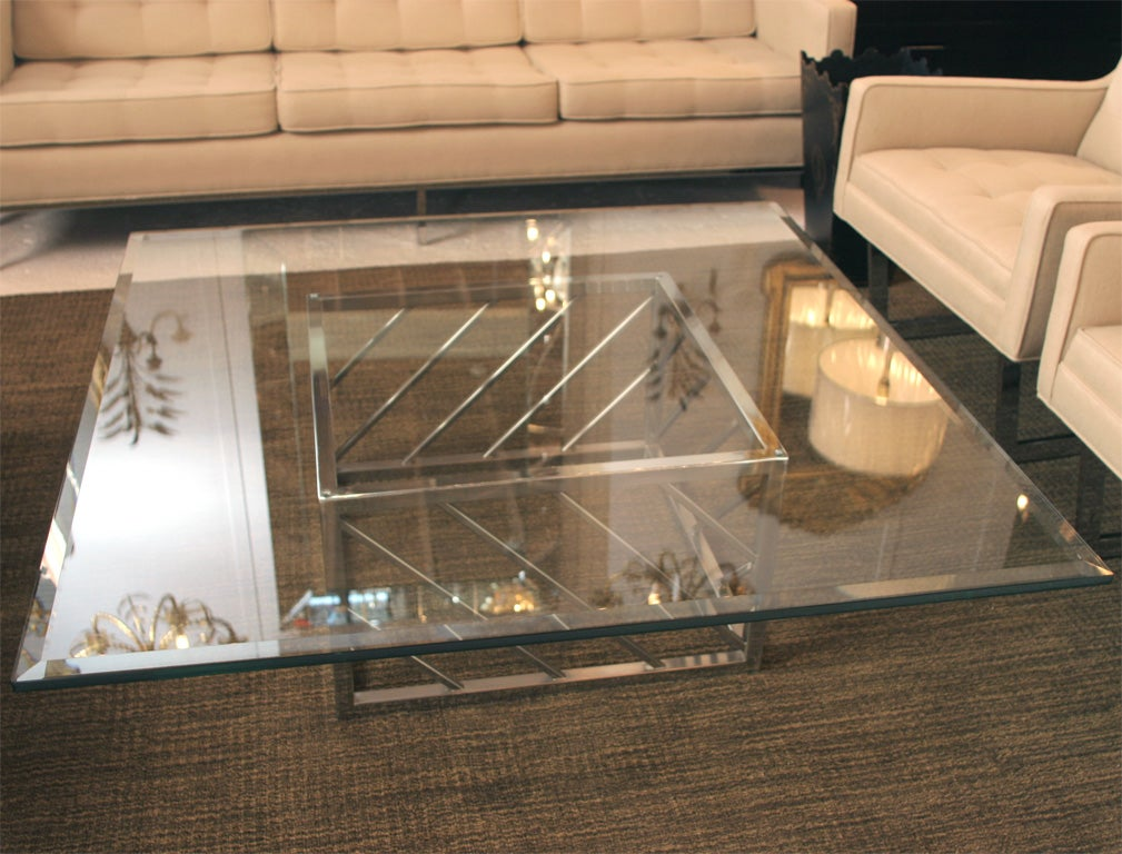American Large Chrome and Glass Coffee Table For Sale