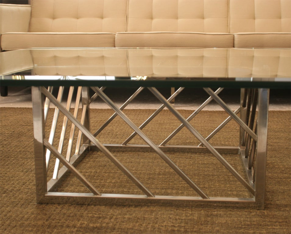 Large Chrome and Glass Coffee Table In Good Condition For Sale In New York, NY