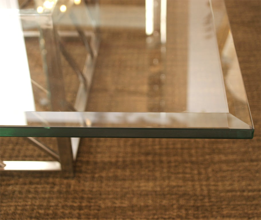 Mid-20th Century Large Chrome and Glass Coffee Table For Sale