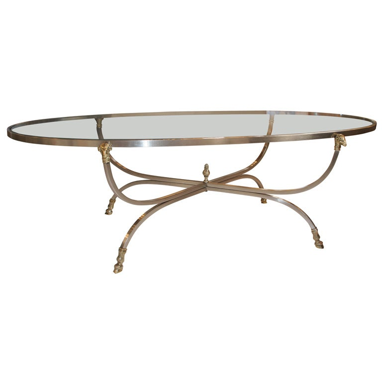 Oval Steel And Brass Rams Head Coffee Table At 1stdibs