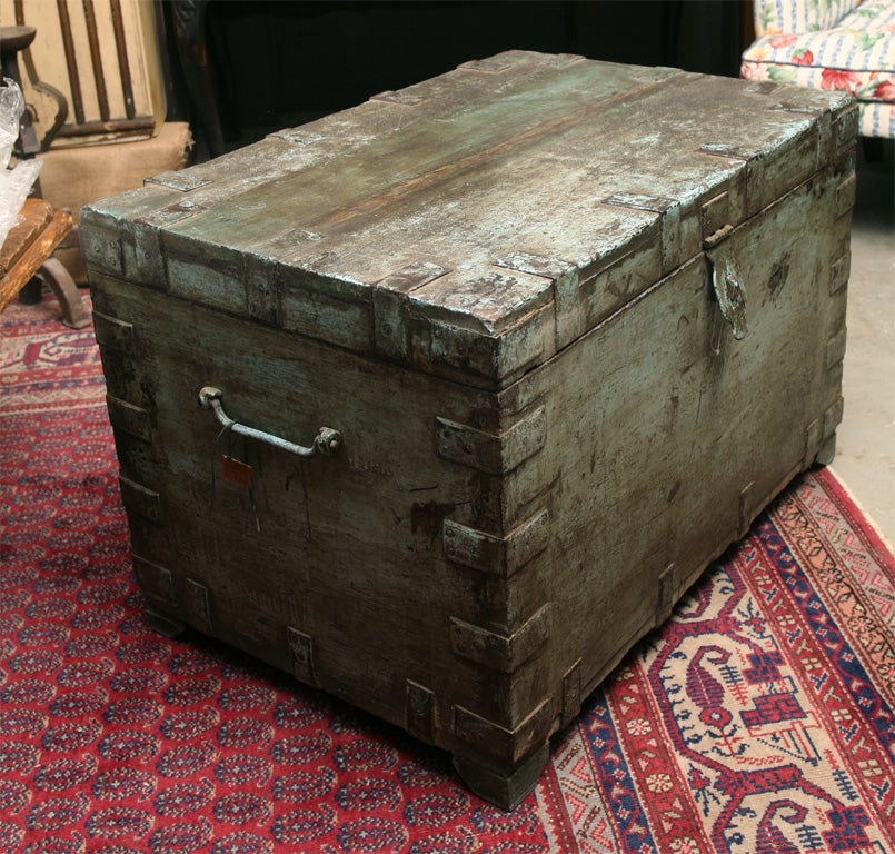 Coffee Table With Storage India: Painted Indian Trunk Coffee Table For Sale At 1stdibs