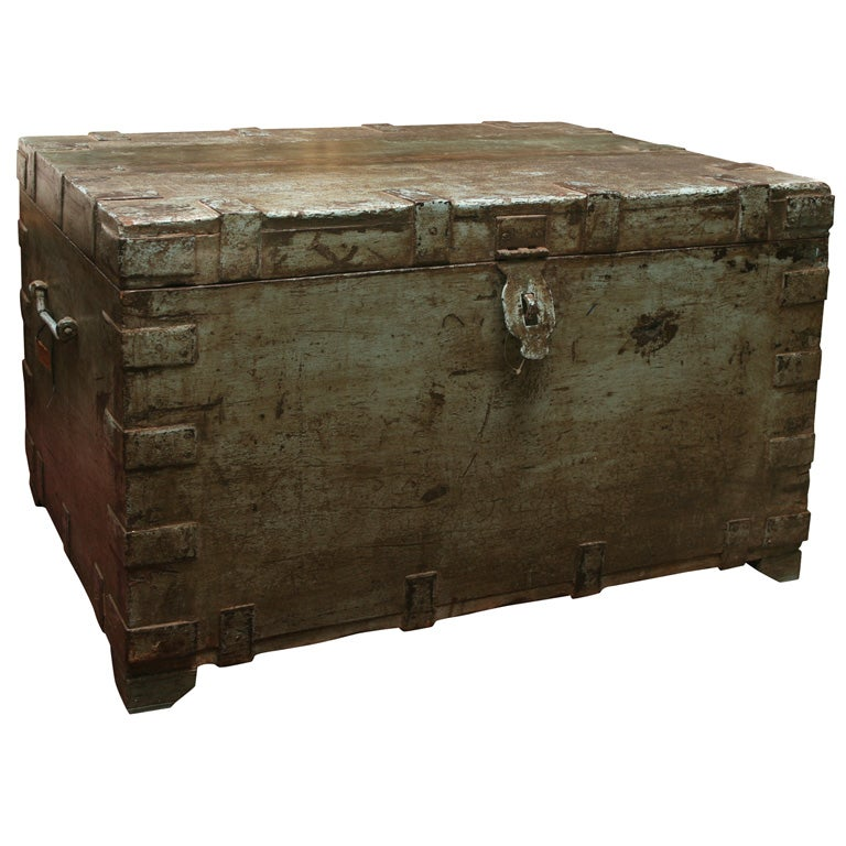 Coffee Table With Storage India: Painted Indian Trunk Coffee Table At 1stdibs