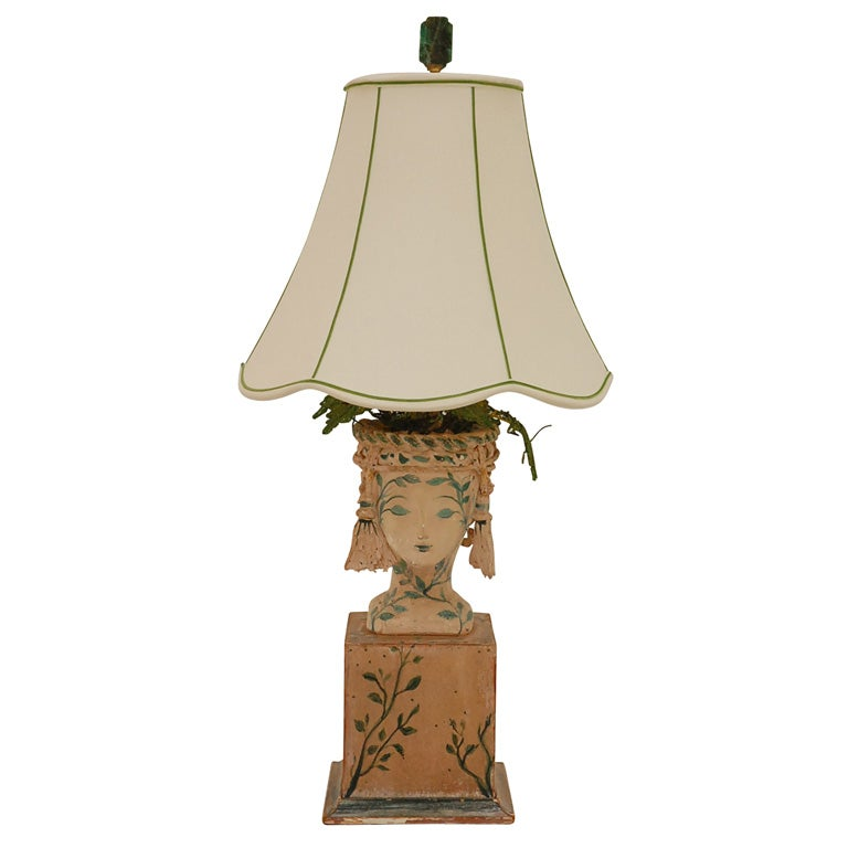 Handmade plaster wood and painted table lamp by tony duquette at 1stdibs - Handmade table lamp ...