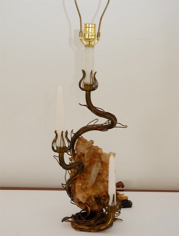 Bronze and Rock Crystal Table Lamp designed by Tony Duquette 5