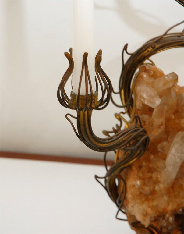 Bronze and Rock Crystal Table Lamp designed by Tony Duquette 7