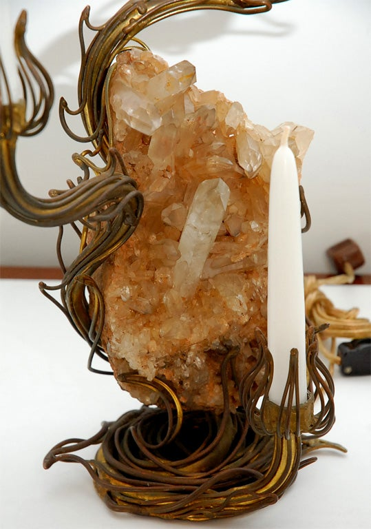 Bronze and Rock Crystal Table Lamp designed by Tony Duquette 8