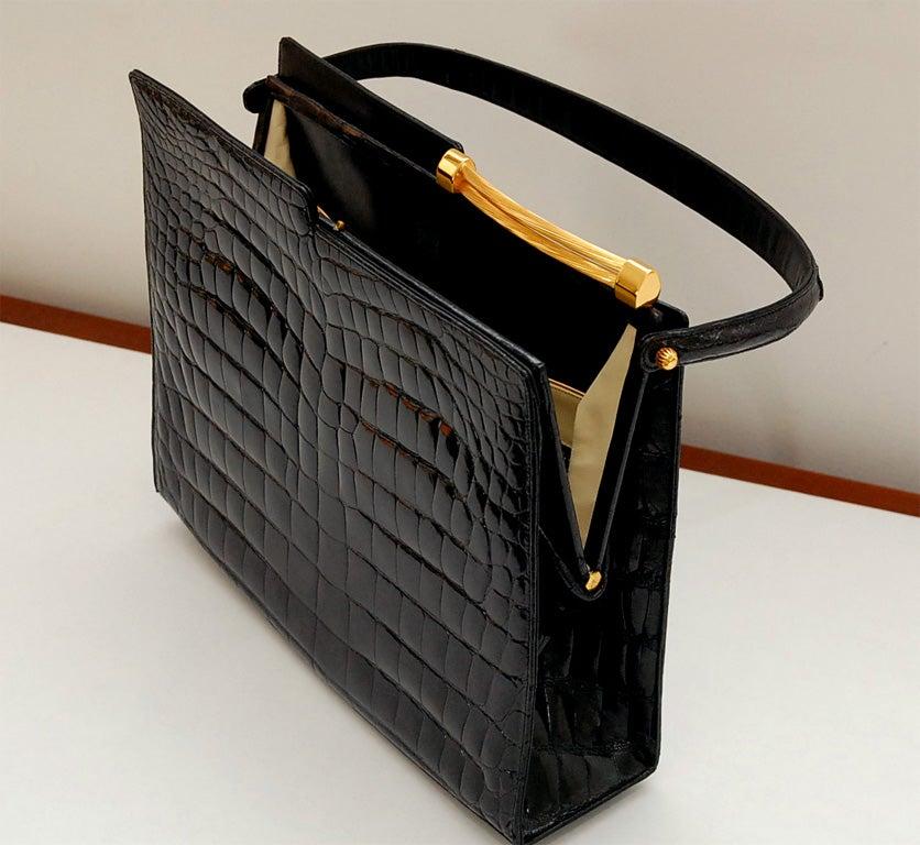 Vintage Rendl Original Black Alligator Evening Bag At 1stdibs
