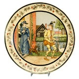Large Hand-Painted Minton Porcelain Plaque Depicting Country Scene Dated 1978