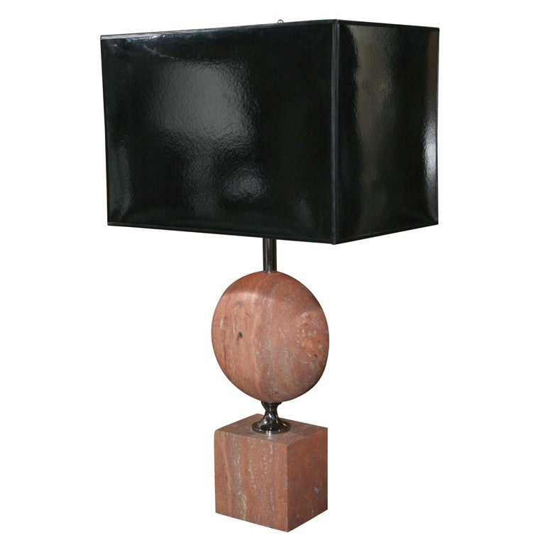 Single Pink Marble Lamp By Barbier French 1970s At 1stdibs