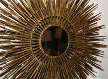 Gilt Decorated Sculptural Sunburst Mirror, American, 1970's image 3