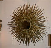 Gilt Decorated Sculptural Sunburst Mirror, American, 1970's image 5