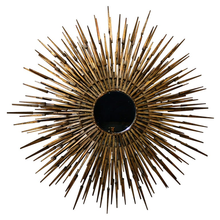 Gilt Decorated Sculptural Sunburst Mirror, American, 1970's