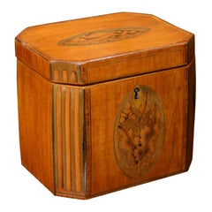 Sheraton Mahogany Inlaid Tea Caddy with Canted Corners