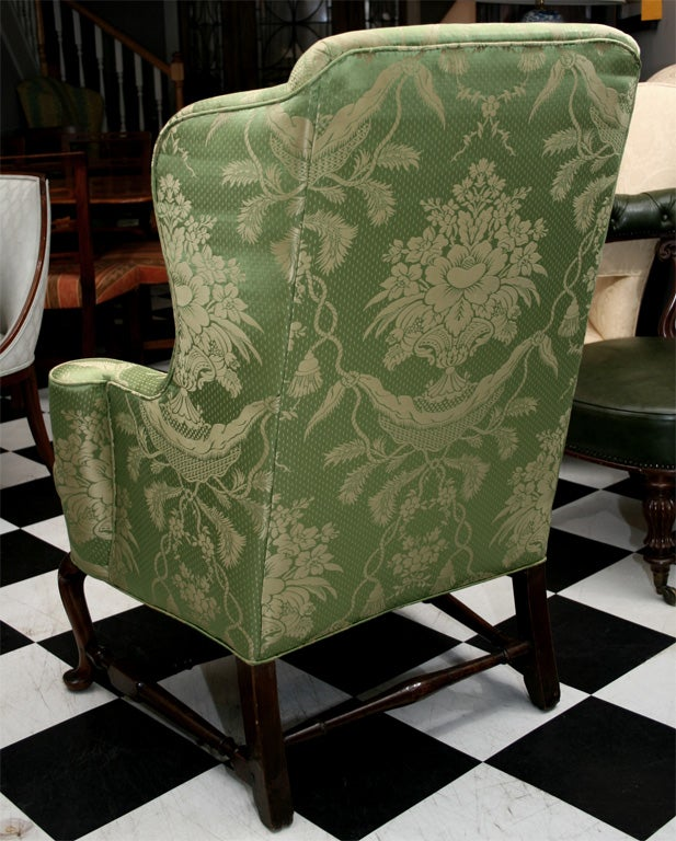 Carved 18th Century New England Queen Anne Walnut Wingback Armchair For Sale