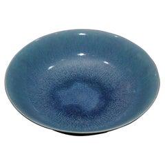 English Ruskin Pottery Blue Glazed Bowl