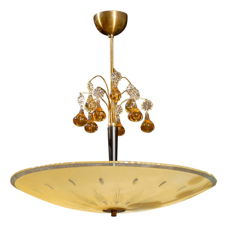 swedish orrefors mid century etched bowl and chandelier at 1stdibs