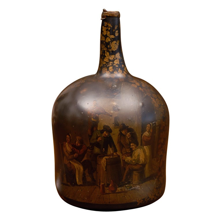18th Century Wine Bottle Painted In The 19th Century At