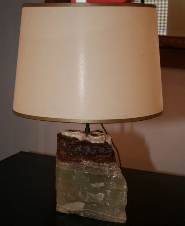 "A block of onyx turned into a lamp. Onyx height 8"" x L 7.5"" x 5"" thick."