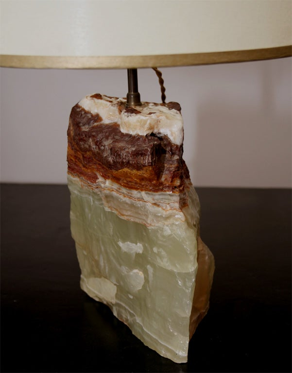 20th Century Onyx Block Lamp For Sale
