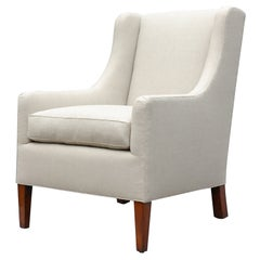 """Alfie"" by Lee Stanton Upholstered Arm Chair in Belgium Linen or Custom Fabric"